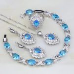 925 <b>Silver</b> Jewelry Sky Blue Rhinestone White CZ Bridal Jewelry Sets For Women Wedding Earring/Pendant/Necklace/<b>Bracelet</b>/Ring