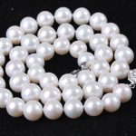 8-9MM Natural White Freshwater Cultured Pearl Nearround beads women fashion chain necklace high grade <b>jewelry</b> <b>making</b> 18inch BV46