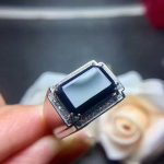 Natural black blue sapphire Ring Natural gemstone Ring S925 <b>sterling</b> <b>silver</b> Retro luxury big Square Men male party gift <b>Jewelry</b>