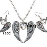 YACQ Guardian Angel Wing Heart Necklace Earrings Sets Antique Silver Color Women Girls Crystal <b>Jewelry</b> Gifts Dropshipping ENC06