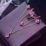 Natural red garnet gem jewelry sets natural gemstone Bracelet Pendant <b>Earrings</b> ring 925 <b>silver</b> Lucky clover women fine jewelry