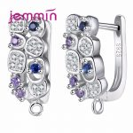 Jemmin 925 Sterling Sliver <b>Earrings</b> Colorful Micro Crystal Prong Setting Hoop Bijoux Design For Women Party Wedding Jewelry