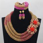 2017 Hot Fuchsia Nigerian Beads Necklace <b>Handmade</b> Braid Beads African <b>Jewelry</b> Set Gold Bridal Lace <b>Jewelry</b> Sets Free ShipABL840