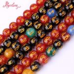 10mm Round Beads Carved Mantra Tibetan Agates Natural Stone Beads For DIY Necklace Bracelets <b>Jewelry</b> <b>Making</b> 15″ Free Shipping
