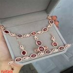 KJJEAXCMY boutique jewels 925 pure <b>silver</b> inlaid natural pomegranate stone ring bracelet <b>earrings</b> 4 pieces of gold color.qwert