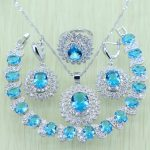 Reginababy Sky Blue Rhinestone White Zircon Silver color <b>Jewelry</b> Set For Women Bracelets/<b>Necklace</b>/Earrings/Ring/Pendents