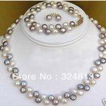 Women's Wedding 2 rows 7-8MM Black White pearl necklace bracelet earrings -silver-<b>jewelry</b> real silver <b>jewelry</b> earrings