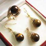 Prett Lovely Women's Wedding noble new <b>jewelry</b> 12mm tiger eye stone pendant, earring, , ring set
