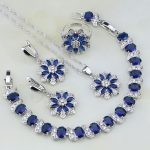 Flower Shaped 925 <b>Silver</b> Blue CZ Jewelry White Zircon Jewelry Sets For Women Wedding Earring/Pendant/Necklace/<b>Bracelet</b>/Ring