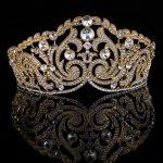 Gold Color Classic Clear Crystal <b>Wedding</b> Tiara Crown Bridal Pageant Hair Accessories Bride Head <b>Jewelry</b> Women Diadem Hairbands