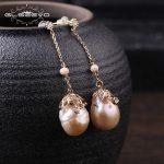 GLSEEVO Natural Fresh Water Baroque Yellow Pearl Long Water Drop Earrings For Women Bead Earrings Handmade Fine <b>Jewelry</b> GE0319B