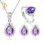 NYMPH Genuine Gem Stone Crystal Topaz Necklace Pendant Rings <b>Earrings</b> Set 925 Sterling <b>Silver</b> Jewelry Gift For Women T239