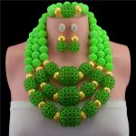 Fantastic Wedding African Crystal Beads <b>Jewelry</b> Set <b>Handmade</b> Party Bridal Statement Necklace Earrings Set Gold-color CNR723