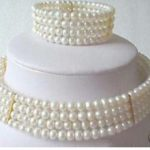 FREE SHIPPING>>>@@ Stuning New 6mm Pearl Choker Necklace <b>Bracelet</b> set