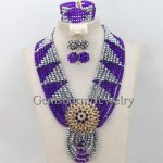 Purple and <b>Silver</b> Wedding African Beads Jewelry Set Girls Chunky Necklace Sets Crystal Costume Jewelry Set Free Shipping WB893