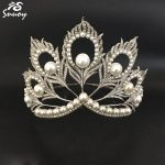 Miss Universe Crowns Peacock Feathers Pearls Full Round Tiara Beauty Queen Crown Big for Pageant Women <b>Jewelry</b> Hair Accessories