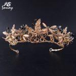 Snuoy Vintage Black Rhinestone Tiaras Dragonflies hairbands <b>Wedding</b> Crowns for Women Bridal Hair <b>Jewelry</b> Accessories