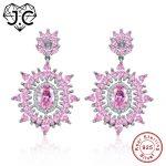 J.C Marquise Pink & Amethyst Oval Pink & Blue Topaz 925 Sterling <b>Silver</b> Drop <b>Earrings</b> Women Wedding Brilliant Fine Jewelry