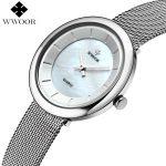 WWOOR Brand Women Quartz Waterproof Watch Ladies Luxury Stainless Steel <b>Bracelet</b> Wrist Watch Women <b>Silver</b> Clock relogio feminino