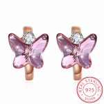 INALIS Brand Pink Austria Crystals Butterfly Hoop Earrings for Women Fine 925 Silver Accessories <b>Jewelry</b> argola aretes