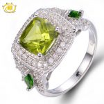 Hutang 2.747ct Genuine Peridot & Chrome Diopside Solid 925 <b>Sterling</b> <b>Silver</b> Ring Gemstone Fine <b>Jewelry</b> For Women's Best Gift