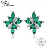 JewelryPalace Flower Shape 2.5ct Created Emerald Clip On <b>Earrings</b> 925 Sterling <b>Silver</b> Jewelry Wholesale Gift For Women <b>Earrings</b>