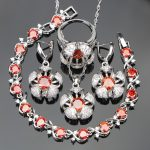 Trendy Red Cubic Zirconia White CZ <b>Silver</b> 925 Jewelry Sets For Women <b>Bracelets</b>/Earrings/Pendant/Necklace/Rings Free Jewelry Box