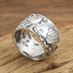 silver <b>jewelry</b> <b>handmade</b> Vintage S925 Mens Ring personality Pisces