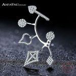 ANFASNI Best Selling 925 Sterling Silver Unique New Arrival <b>Jewelry</b> Clear Multi CZ Stud Earrings for Women <b>Wedding</b> Brincos T0249