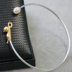 One of a kind 925 sterling silver bangles personality simple design cat and pearl brushed silver <b>handmade</b> fashion ladies <b>jewelry</b>