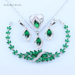 L&B <b>silver</b> 925 Green Created Emerald White Crystal Necklace Pendant <b>Bracelets</b> Earrings Ring For Women Jewelry Sets