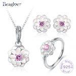 Beagloer European 925 Sterling <b>Silver</b> Blooming Dahlia Pendant <b>Earrings</b> Ring For Women Wedding Jewelry Set PSST0020-B
