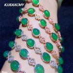 KJJEAXCMY Fine jewelry 925 sterling <b>silver</b> inlaid green chalcedony <b>bracelet</b> as a simple alluxe green jade