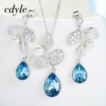 Cdyle Delicate Crystals S925 Sterling <b>Silver</b> jewelry Pendant Necklace <b>Earrings</b> Sets Wedding Jewelry Fashion Women Bijous