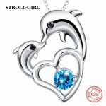 Sterling silver 925 lovely kissing dolphin pendant chain necklace with CZ diy European fashion <b>jewelry</b> <b>making</b> for women gifts