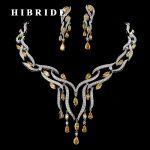 HIBRIDE Luxury 5 Colors CZ Stone Tassel <b>Necklace</b> Earrings Sets Women Bridal <b>Jewelry</b> Set Wedding Gifts For Female N-185