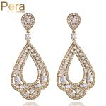 Pera Luxury Afrian Bridal <b>Wedding</b> <b>Jewelry</b> Gift Big Statement Cubic Zirconia Stone Hollow Dangle Long Drop Earring For Women E371