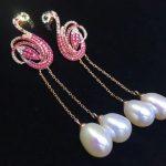 natural fresh water pearl dangle earring 925 <b>sterling</b> <b>silver</b> with cubic zircon flamingo earring fashion women <b>jewelry</b>