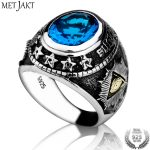 MetJakt Pentagram Goat's Head Satan and God's Eye Ring Solid 925 <b>Sterling</b> <b>Silver</b> Topaz Ring Hand-carved Religious Punk <b>Jewelry</b>