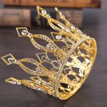 Gold Color Queen King Tiara Crown Baroque Retro Tiaras and Crowns Pageant Crown Princess Prom Hair <b>Jewelry</b> accessories
