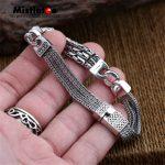 Authentic 925 Sterling <b>Silver</b> Vintage Punk Locomotive <b>Bracelet</b> 20cm For Women & Men Jewelry