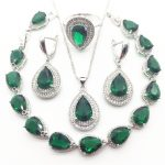 Green Zircon Costume 925 <b>Silver</b> Jewelry Sets Wedding Women Earrings With Stones <b>Bracelets</b> Necklace Rings Set Jewellery