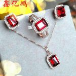 925 sterling <b>silver</b> with natural garnet jewelry suit ring necklace pendant <b>earrings</b> Fashion color treasure