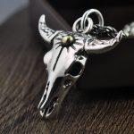 FNJ 925 Silver Bull skull Pendant Original Cow S925 Original Thai Silver Pendants for Women Men <b>Jewelry</b> <b>Making</b>