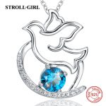 2018 sterling silver 925 peace dove chain pendant necklace with blue CZ European diy fashion <b>jewelry</b> <b>making</b> for women gifts