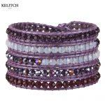 KELITCH <b>Jewelry</b> 1Pcs Purple Genuine Leather Chain Multilayers <b>Handmade</b> Crystal Beaded Bohemian Adjustable Women Bracelet