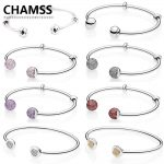 CHAMSS 100% Real 925 MOMENTS Brand New Classic Open <b>Bracelet</b> PD Original Valentine's Day Gift