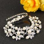 Bella Elegant Bridal Flower Simulated Ivory Color Pearl Bracelet Clear Tennis Bangle For <b>Wedding</b> <b>Jewelry</b> Bride & Bridesmaid