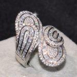 Top Selling Drop Shipping <b>Handmade</b> Luxury <b>Jewelry</b> 925 Sterling Silver Princess Cut 5A CZ Party Women Wedding Leaf Wide Ring Gift
