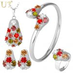 U7 Crystal <b>Necklace</b> Set Women Gold Color Colorful Rhinestone <b>Necklace</b>/Earrings/Bracelet/Ring Bridal <b>Jewelry</b> Sets S615